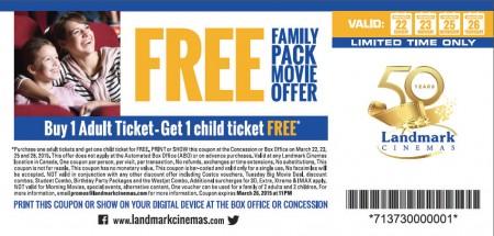 Landmark Cinemas BOGO Coupon - Buy 1 Adult Ticket, Get 1 Child Ticket FREE (Mar 22-26)