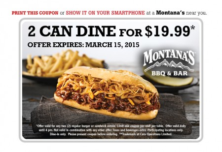 Montana's Cookhouse 2 Can Dine for $19.99 Coupon (Until Mar 15)