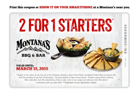 Montana's Cookhouse 2 For 1 Starters Coupon (Until Mar 15)