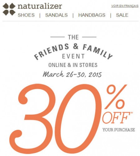 Naturalizer Friends and Family Sale - Extra 30 Off Your Purchase Promo Code (Mar 26-30)