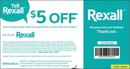 Rexall $5 Off When you Spend $25 Coupon (Until May 7)