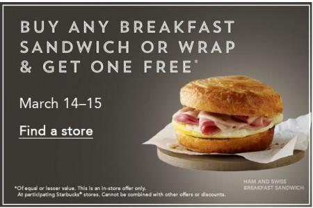 Starbucks BOGO - Buy Any Breakfast Sandwich or Wrap, Get One Free (Mar 14-15)