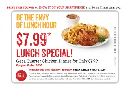 Swiss Chalet $7.99 Lunch Special Coupon (Until May 8)