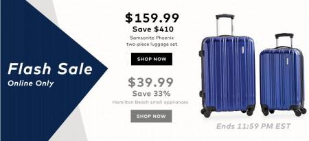 TheBay.com Flash Sale - 72 Off Samsonite Luggage Set, and 33 Off Hamilton Small Appliances (Mar 4)