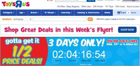 Toys R Us Half Price Deals (Mar 20-22)