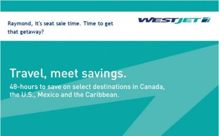 WestJet 48-Hour Seat Sale (Book by Mar 11)