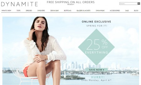 Dynamite Clothing 25 Off Everything + Free Shipping All Orders (Until Apr 6)