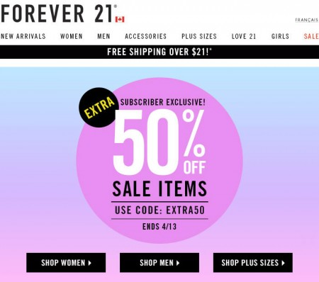 Forever 21 Sale on Sale - Extra 50 Off Sale Items Promo Code (Until Apr 13)