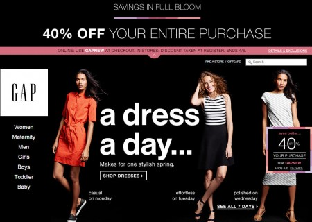 GAP 40 Off Your Entire Purchase Promo Code (Apr 3-6)