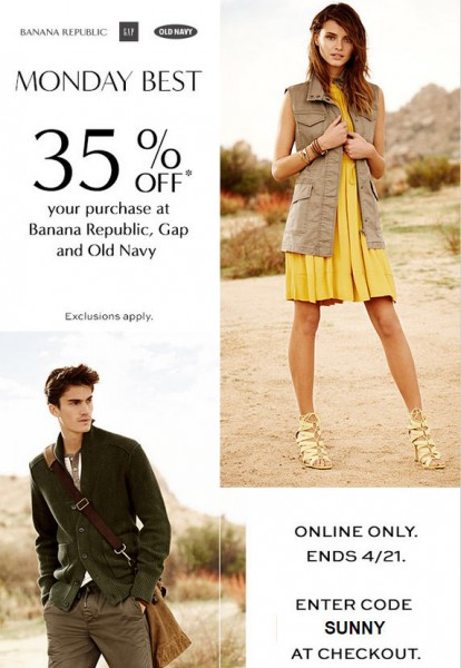 GAP, Banana Republic, and Old Navy 35 Off Your Purchase Promo Code (Apr 20-21)