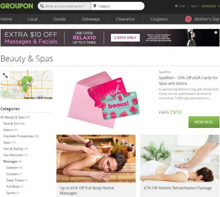 GROUPON Extra $10 Off Massage and Facial Deals Promo Code (Apr 23-24)