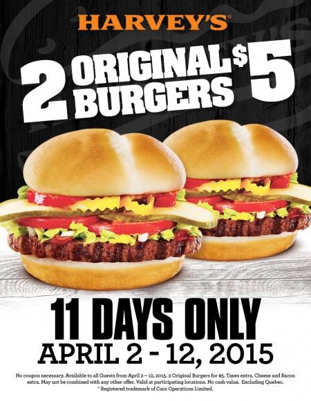 Harvey's 2 Original Burgers for $5 (Apr 2-12)
