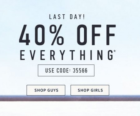 Hollister Co 40 Off Everything + Free Shipping Promo Code (Until Apr 9)