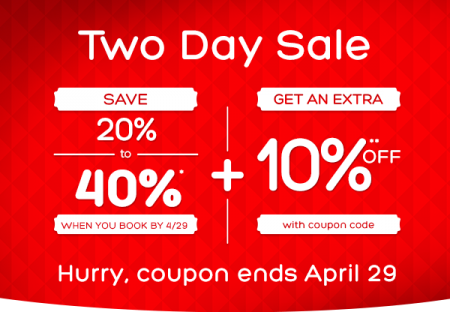 Hotels Two Day Sale - Up to 40 Off + Extra 10 Off Coupon Code (Apr 28-29)