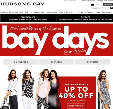 Hudson's Bay Bay Days - Lowest Prices of the Season (Apr 10-16)