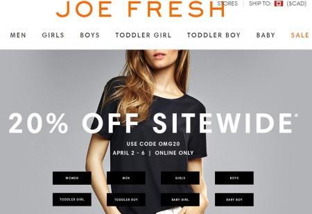 Joe Fresh 20 Off Sitewide Promo Code (Apr 2-6)