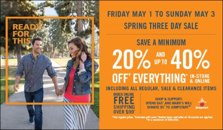 Mark's Spring Three Day Sale - Save 20-40 Off Everything (May 1-3)