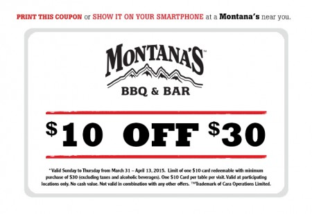 Montana's Cookhouse $10 Off $30 Meal Coupon (Until Apr 13)