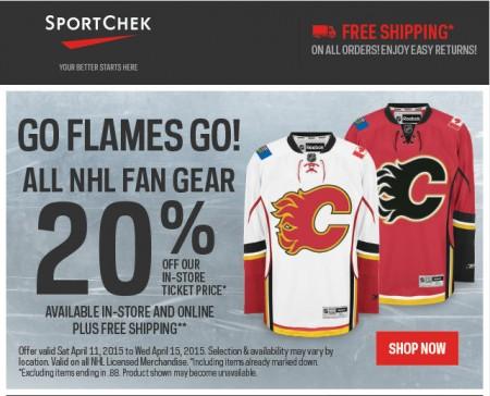 Sport Check Go Flames Go! 20 Off All NHL Fan Gear + Free Shipping (Apr 11-16)