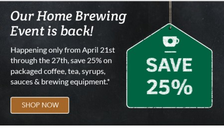 Starbucks Store Home Brewing Event - Save 25 Off Select Packaged Coffee, Tea, Syrups and More (Until Apr 27)