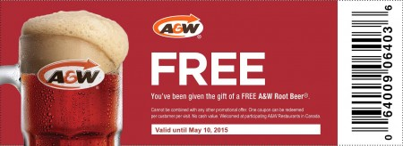 A&W FREE Root Beer Coupon (Until May 10)