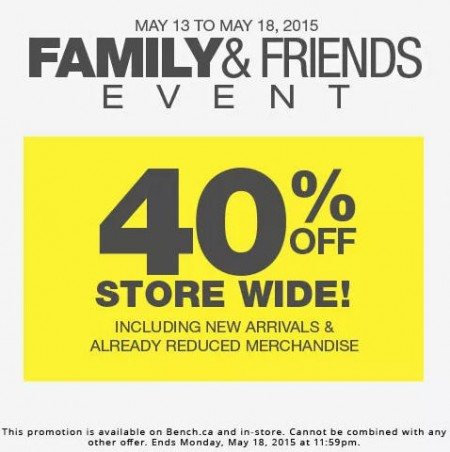 Bench Family & Friends Sale - 40 Off Sitewide (May 13-18)