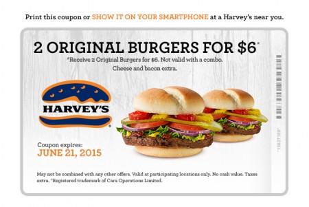 Harvey's 2 Original Burgers for $6 Coupon (Until June 21)