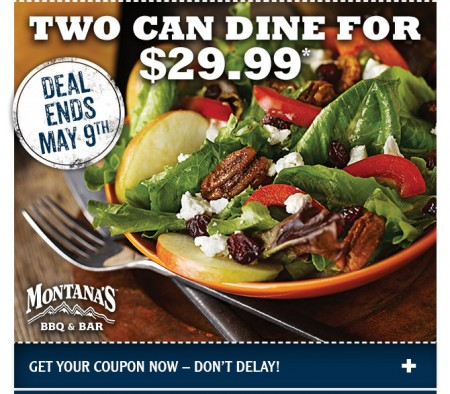 Montana's BBQ and Bar 2 Can Dine for $29.99 Coupon (Until May 9)