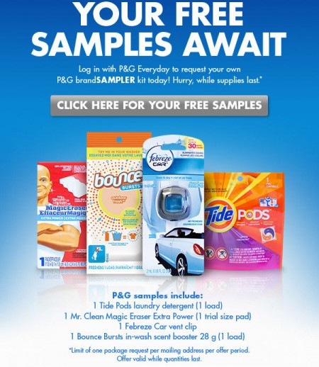 P&G Everyday FREE Samples from Tide & Mr Clean
