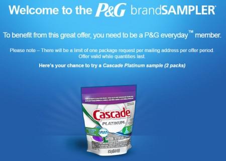 P&G brandSAMPLER FREE Cascade Platinum Sample