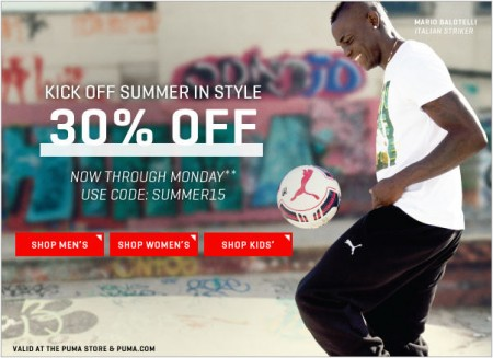 PUMA 30 Off Your Purchase Promo Code (May 22-25)