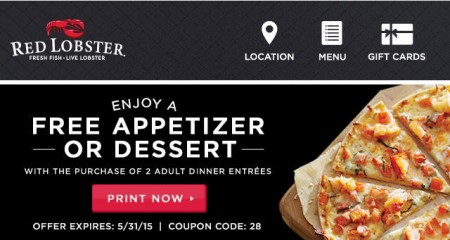 Red Lobster Free Appetizer or Dessert with Purchase of 2 Adult Dinner Entrees Coupon (Until May 31)