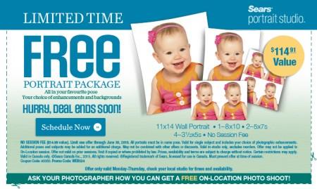 Sears Portrait Studio FREE Portrait Package Coupon - $114 Value (Until Jun 30)