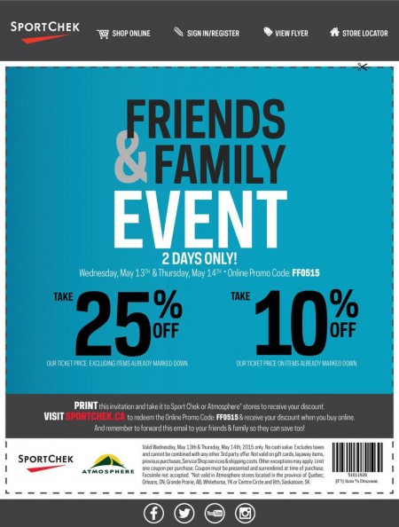 Sport Chek Friends & Family Event - 25 Off Regular Priced Items, 10 Off Sale Items (May 13-14)