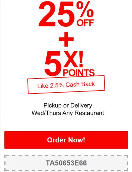 TasteAway Promo Code - 25 Off Any Restaurant Pickup or Delivery (May 20-21)