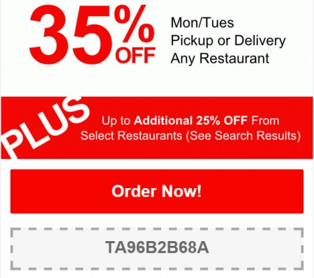TasteAway Promo Code - 35 Off Any Restaurant Pickup or Delivery (May 11-12)