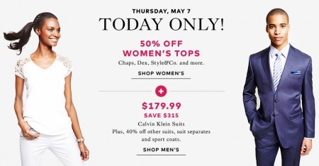 TheBay Flash Sale - 50 Off Women's Tops, $179.99 for Calvin Klein Suits (May 7)