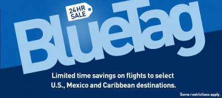 WestJet 24 Hour BlueTag Sale - Save on select Flights to US, Mexico and Caribbean (Book by May 29)