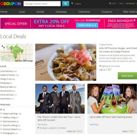 GROUPON Extra 20 Off Promo Code, Up to 3 Local Deals (June 30)