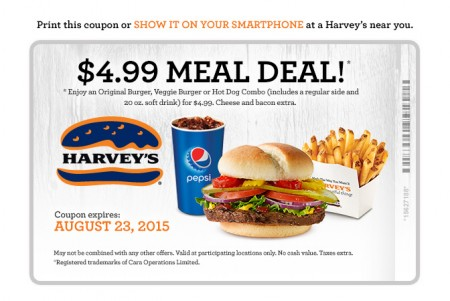 Harvey's $4.99 Meal Deal Coupon (Until Aug 23)