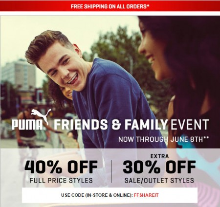 PUMA Friends & Family Event - 40 Off Full Price Styles + Extra 30 Off Sale Styles + Free Shipping (Until June 8)