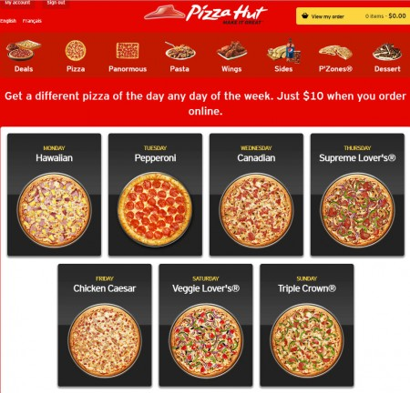 Pizza Hut $10 Pizza of the Day (Online Only)