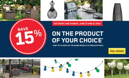 RONA 15 Off Any One Product of Your Choice (June 20-21)