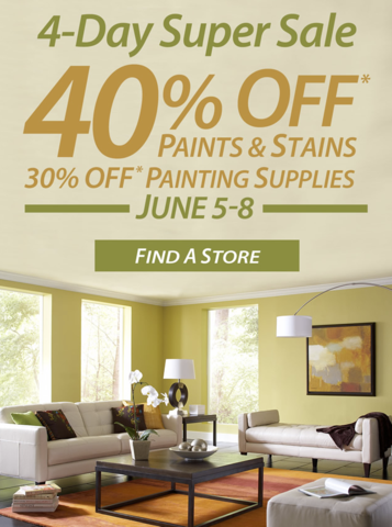 Sherwin-Williams 4-Day Super Sale - 40 Off Paints and Stains (June 5-8)