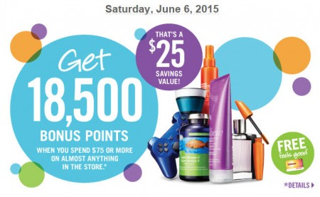 Shoppers Drug Mart Get 18,500 Bonus Points When you Spend $75 (June 6)