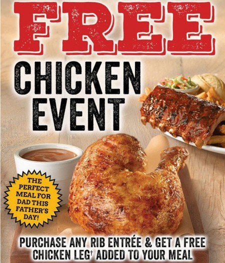 Swiss Chalet Free Chicken Event - Free Chicken Leg with Any Rib Entrée Purchase (June 18-28)