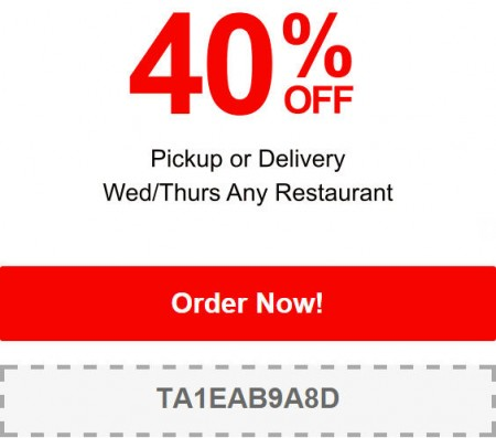 TasteAway Promo Code - 40 Off Any Restaurant Pick-up or Delivery Order (June 24-25)