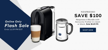 TheBay Flash Sale - $149.95 for Nespresso U Bundle with Frother - Save $100 Off (June 24)