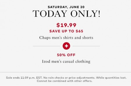 TheBay Today Only - $19.99 for Chap's Men's Shirts and Shorts - Save up to $65 (June 20)