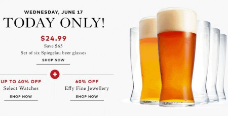 TheBay Today Only - 72 Off Beer Glasses, Up to 40 Off Watches, 60 Off Fine Jewellery (June 17)